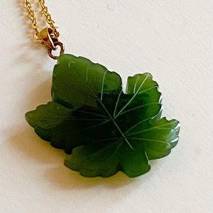 Jade Carved Maple Leaf Necklace